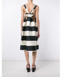 Rochas - Black Stripe Sleeveless Bow Dress - Lyst
