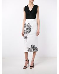 Roland Mouret - White Salway Floral Embroidered Skirt - Lyst