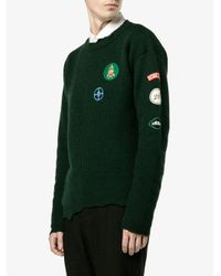 Raf Simons - Green Distressed Knit Pullover for Men - Lyst