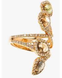 Saqqara - Multicolor 18k Yellow Gold Diamond Quatrain Ring - Lyst