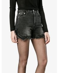 MSGM - Black Ruffle-trimmed Denim Shorts - Lyst