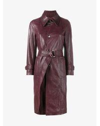 Balenciaga - Red - Cracked Trench Coat - Women - Lamb Skin/viscose - 34 - Lyst