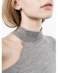 Lizzie Mandler - Gray Petit Square Emerald 'huggies' Earrings - Lyst
