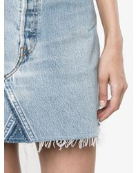 Re/done - Blue High Waisted Denim Mini Skirt - Lyst