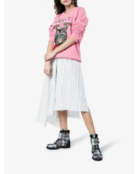 Ganni - Gray Checked Flat Boots - Lyst
