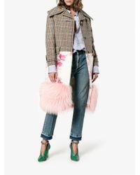 Prada Multicolor Single-breasted Floral Fur Trim Coat