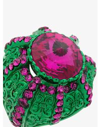 Gucci - Crystal Pink And Green Pincushion Ring - Lyst