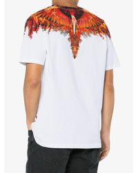 Marcelo Burlon White T Shirt With Flame Wing Detail for men