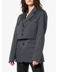 Charms - Gray Basic Cropped Jacket Blazer - Lyst