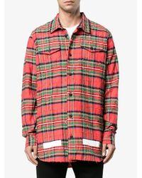 Off-White c/o Virgil Abloh - Blue Logo Printed Check Shirt for Men - Lyst