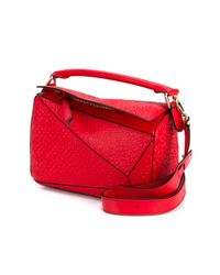 Loewe - Red Puzzle Leather Shoulder Bag - Lyst