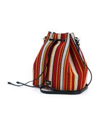 N°21 - Red Woven Stripe Bucket Bag - Lyst