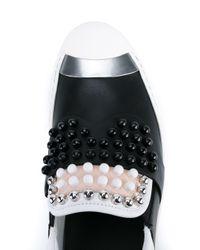 Fendi - Black Karl Studded Leather Sneakers - Lyst