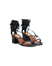 Valentino - Black Masked Heel Leather Sandals - Lyst