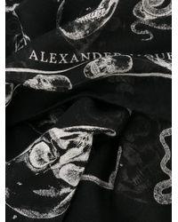 Alexander McQueen - Multicolor Skull Print Silk Blend Scarf for Men - Lyst