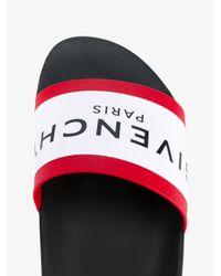 Givenchy - Black Logo Print Pool Slides for Men - Lyst