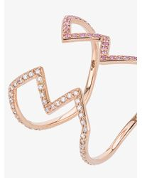 Sabine G - Gray Rose Gold Open Ziggy Ring With Diamond And Sapphire - Lyst