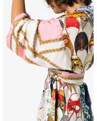 Rianna + Nina - Blue Short Multi Floral Chain Print Silk Kimono Robe - Lyst