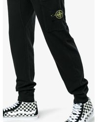 Stone Island - Black Logo Sweat Pants for Men - Lyst
