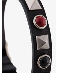Valentino - Black Studded Buckle Braclet for Men - Lyst
