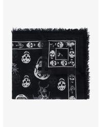 Alexander McQueen - Black Romantic Weeds & Skull Printed Scarf for Men - Lyst