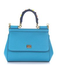 Dolce & Gabbana - Blue Strap Handbag Sicily S Leather Turquoise Beads - Lyst