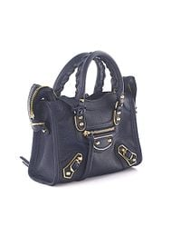 Balenciaga - Hand Bag Shoulder Bag City Metal Nano Leather Blue Grain Studs Gold - Lyst
