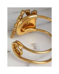 Burberry - Metallic Crystal Daisy Brass Cuff - Lyst