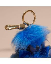 Burberry - Blue Thomas Bear Pom-pom Charm In Check Cashmere - Lyst
