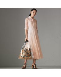 Burberry - Pink Pleated Lace Dress - Lyst
