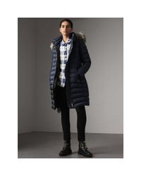 Burberry - Blue Detachable Fur Trim Down-filled Puffer Coat With Hood - Lyst