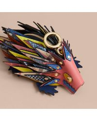 Burberry - Multicolor The Hedgehog – Leather And Ostrich Coin Case - Lyst