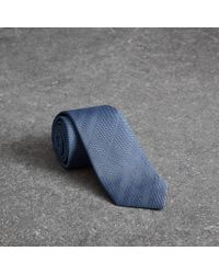 Burberry - Blue Modern Cut Check Silk Tie for Men - Lyst