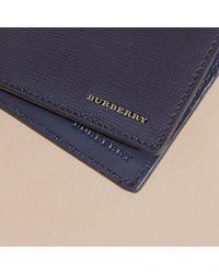 Burberry - Blue London Bi-Fold Leather Wallet  for Men - Lyst