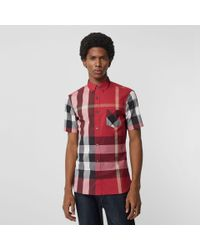 cd31ff6ce8b5 Lyst - Burberry Short-sleeve Check Stretch Cotton Blend Shirt Parade ...