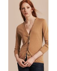 Burberry - Natural Check Placket Wool Cardigan Camel - Lyst