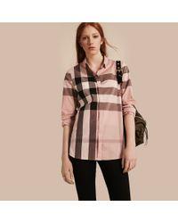 Burberry   Multicolor Check Cotton Shirt Antique Pink   Lyst