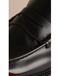 Burberry - Black Rubber Sole Leather Loafers for Men - Lyst