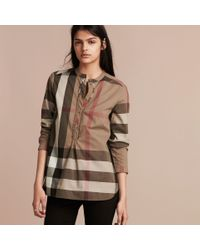 Burberry | Check Cotton Tunic Shirt Taupe Brown | Lyst