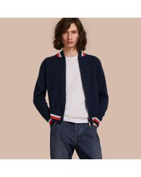 Burberry   Blue Knitted Cashmere Bomber Jacket for Men   Lyst
