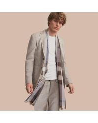 Burberry | Gray Herringbone Cotton Blend Jersey Blazer for Men | Lyst