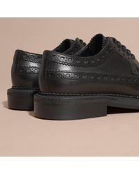 Burberry | Black Leather Wingtip Brogues for Men | Lyst