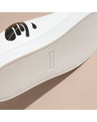Burberry - Splash Motif Leather Trainers Optic White/black - Lyst