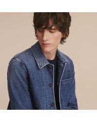 Burberry - Blue Denim Workwear Jacket for Men - Lyst
