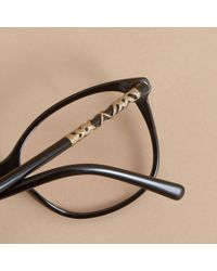 Burberry - Check Detail Round Optical Frames Black - Lyst