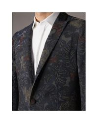 Burberry | Gray Slim Fit Beasts Technical Silk Jacquard Tailored Jacket for Men | Lyst
