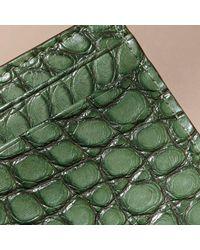 Burberry Green Alligator Leather Card Case for men