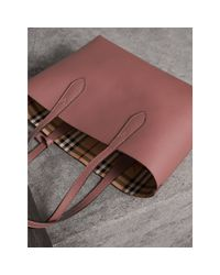 Burberry - Multicolor The Small Reversible Tote In Haymarket Check And Leather Light Elderberry - Lyst