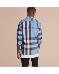 Burberry - Button-down Collar Check Stretch Cotton Blend Shirt Cyan Blue for Men - Lyst