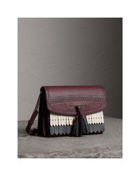 Burberry - Multicolor Brogue And Fringe Detail Leather Crossbody Bag - Lyst